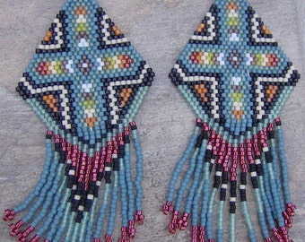 Native American Style Southwestern Cross Earrings Hand Made Seed Beaded