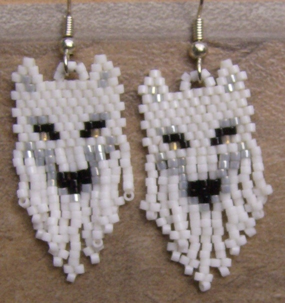 White Wolf Earrings Hand Made Seed Beaded