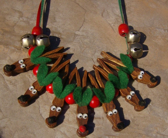 Raindeer Necklace With Wooden Cloths Pins Hand Made