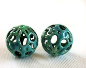 Loopy Water Garden Torch Fired Enamel Beads - Set of 2