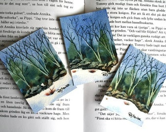 Valley Snow Triptych Original Watercolor Paintings Set of 3 ACEO