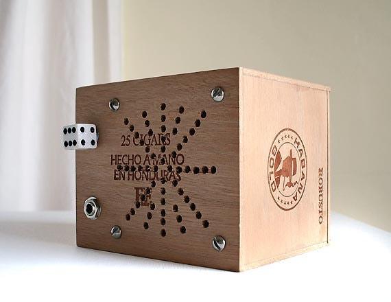 Cigar Box Amp Robusto Habana Gold - Portable Battery Powered Amp - Ready to Ship