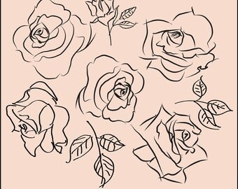 Digital Sketchy Roses Brushes and Stamps. Instant Download. Digital Roses Clip Art. Personal and limited commercial use