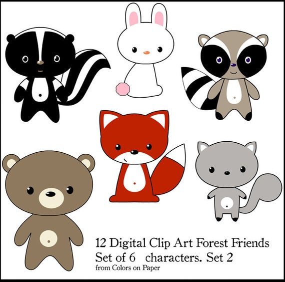 Digital Clipart Little Forest Friends .Instant Download. Set of 6 Cute Animals. Personal and limited commercial use.