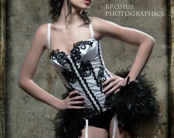 The Velvet Bones Circus Burlesque Feather Corset Costume M 34