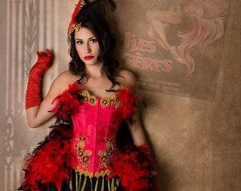 The Kayleanna Victoria Velvet  Feather Fantasy Burlesque Corset Costume