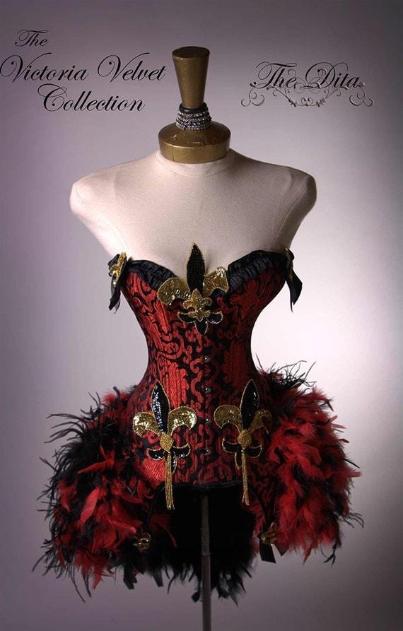 The Mardi Gras Victoria Velvet Dita III Burlesque Feather Corset Costume Small - Medium  32 - 34