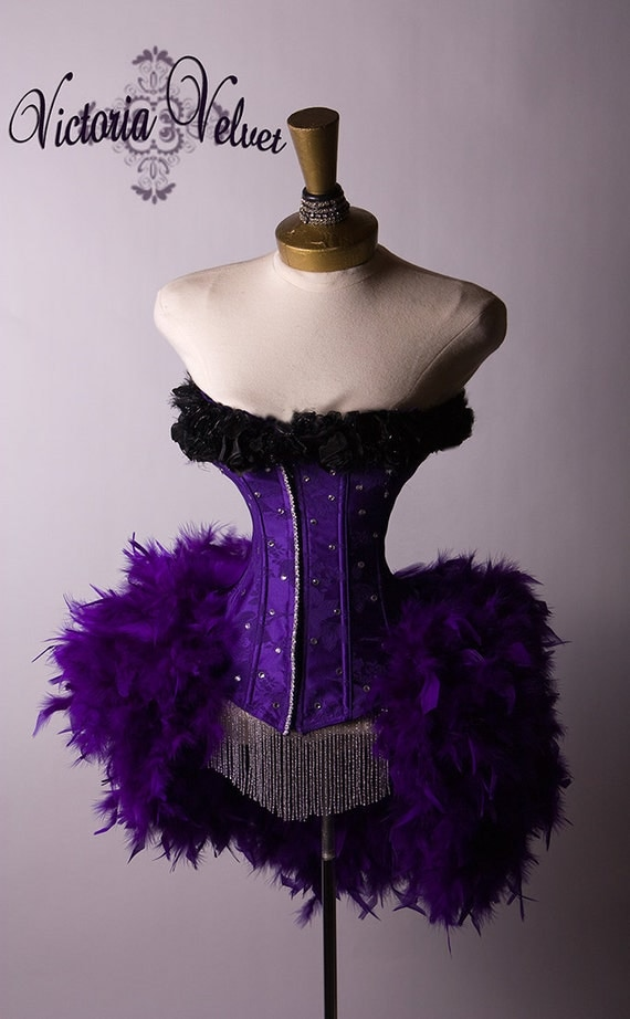 The Royal Purple Victorian Vampire Mardi Gras Feather Corset Costume S