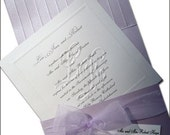 100 Customized Blind Embossed Monogram and Organza Bow Wedding Invitations. Fully Addressed, Lavander and White.