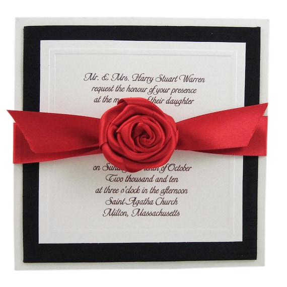 Boxed Wedding Invitation  - Couture Invitation - Wedding Invite -  Embossed Monogram - Red  - Black - White  - Set of 100