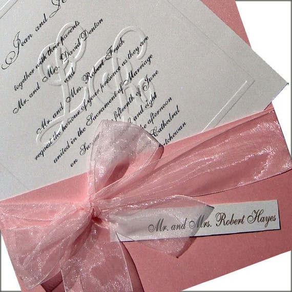 100 Customized Blind Embossed Monogram and Organza Bow Wedding Invitations. Fully Addressed, Pink and White.