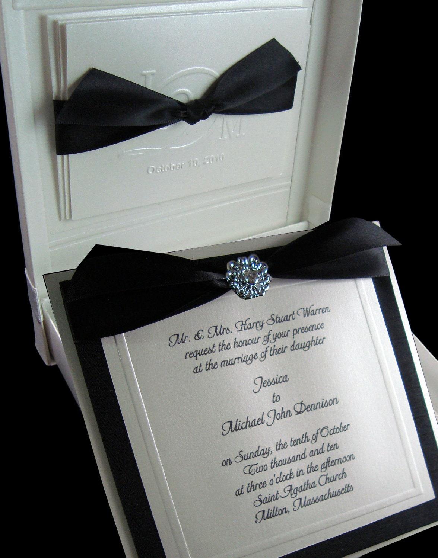 Couture Invitation Boxed Wedding Invitation Black And