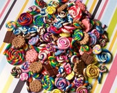 50 piece deco items - candy swirls, candy sticks, crackers, and chocolates