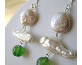 Classic fresh Water Pearls and Faceted Green Quartz Earrings