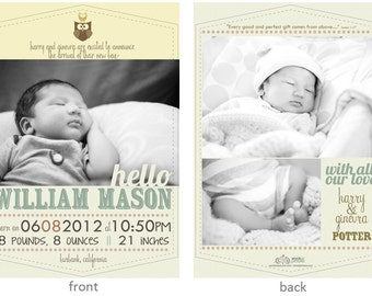 William Baby Boy Announcement DIY Printable OR Printed Card