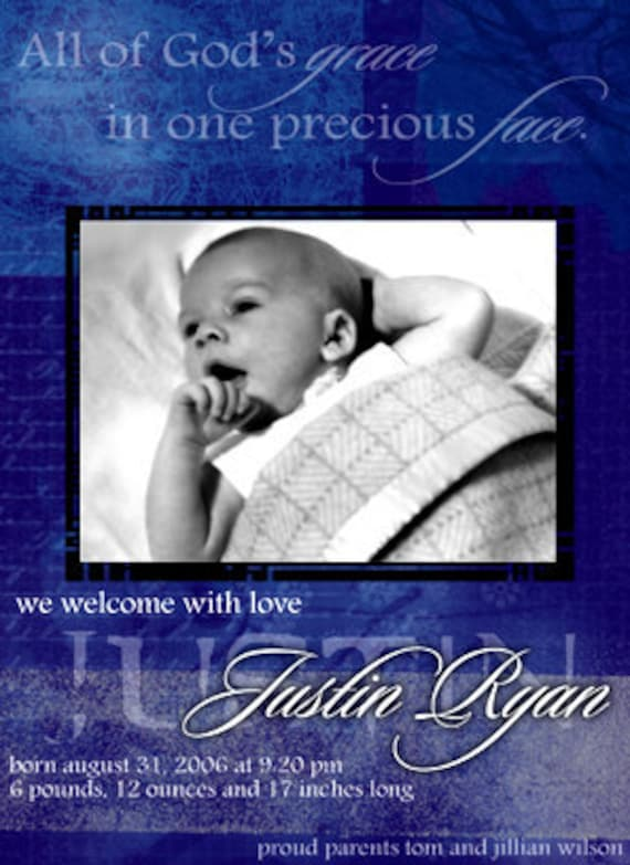 Justin Baby Boy Announcement DIY Printable OR Printed Card