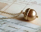 Sweet Acorn Pearl Necklace. FREE WORLDWIDE SHIPPING.