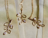 Gold Leaf Necklace with Pearls