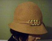 Hat Stuff---Vintage Wool Hat with Gold Buckle---FREE SHIPPING