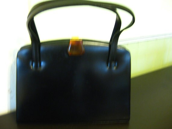vintage 1960's black leather purse with bakelite clasp made in france