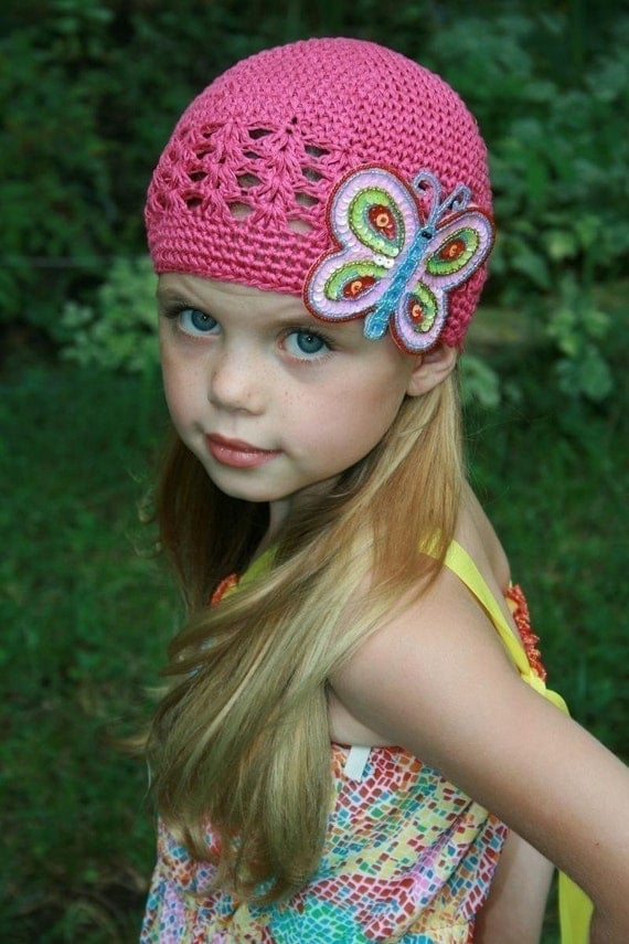 Pink Beanie w Sequined Butterfly Clip