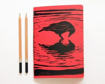 Black Crow -  Linoleum Block Printed & Hand Bound Notebook