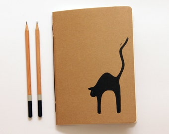 Black Cat - Linoleum Block Printed & Hand Bound Notebook