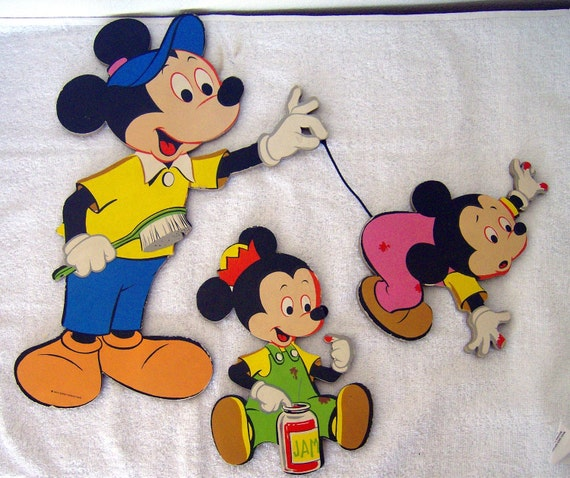 Vintage Disney Mickey Mouse Wall Decor By Beaddivaboutique On Etsy