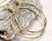 Medium Gold Hoop Earrings 14K Gold Fill Gifts for Her Eco Friendly Jewelry Hammered Hoop Earrings