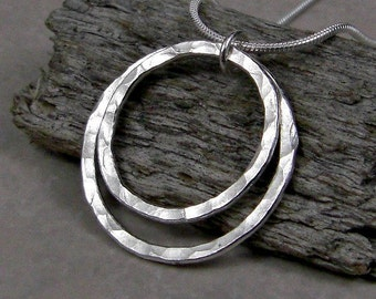 Circle Pendant Necklace Fused Fine Silver Mother's Day Gift Gifts for Her