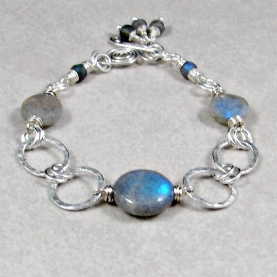 Reserved: for Charlotte - Labradorite Bracelet Fine Silver - Spring Fashion