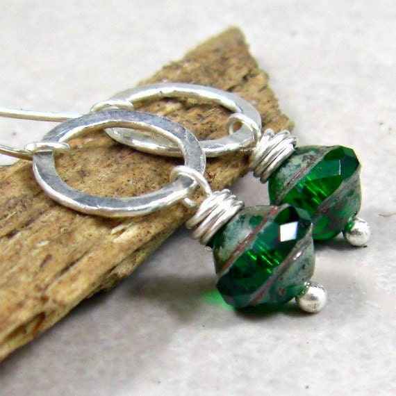 Green Dangle Earrings, Fused Fine Silver, Holiday Jewelry, Christmas Earrings, Gifts for Her