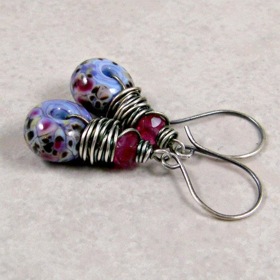 Lampwork Earrings Marbled Plum Pink Glass Sterling Silver Free Shipping