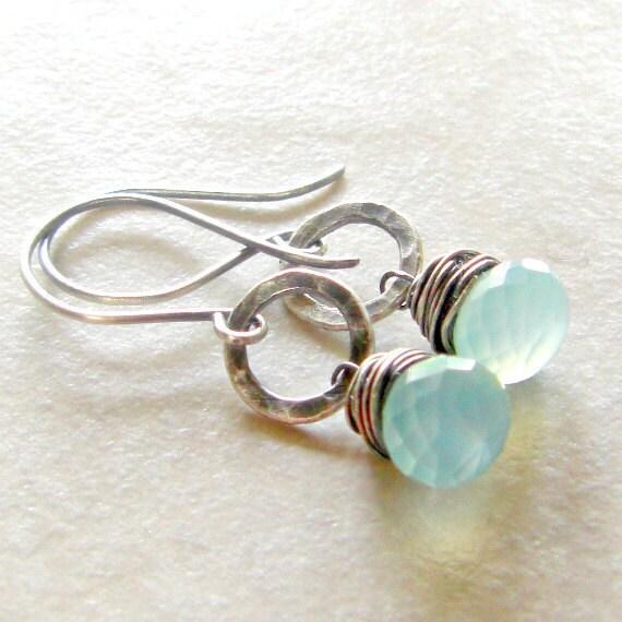 Blue Chalcedony Earrings Fused Fine Silver