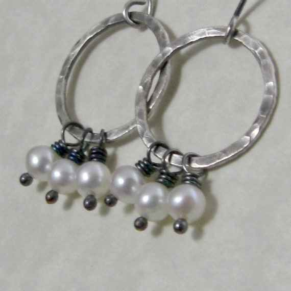 Pearl Circle Earrings Fine Silver Freshwater Pearl Free Shipping