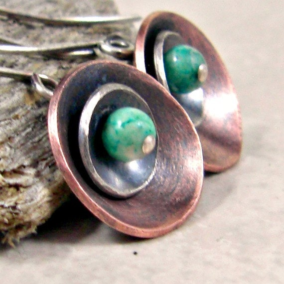 Disc Earrings Mixed Metal Copper and Sterling Fossil Stone Free Shipping