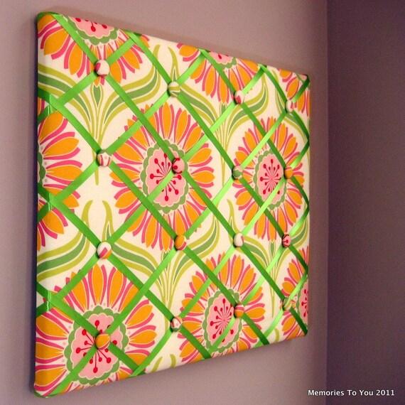 16x20 Memory Board or Bow Holder Pink Yellow Green Lemonade
