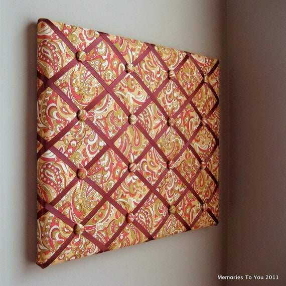 Memory Board Bow Holder 16x20 Fall Paisley Green Brown Red