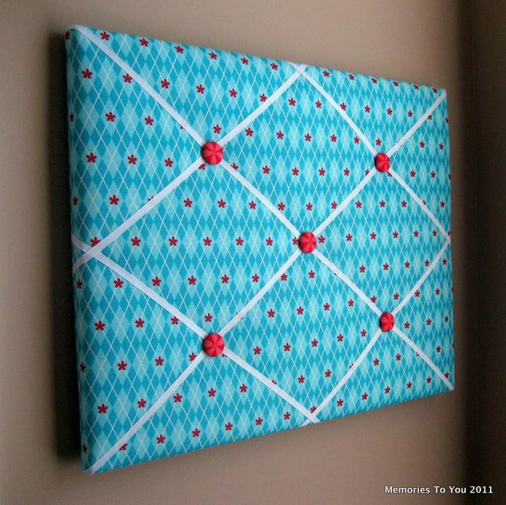 16x20 Memory Board Bow Holder Turquoise Red Argyle