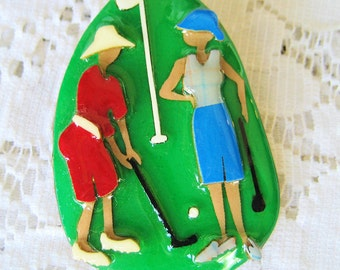 Vintage 1980s Golf Pin by Lucinda Vintage Signed Green, Shipping Included