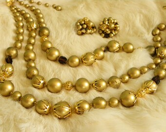 Gold Beaded 3 Strand Gold Tone Necklace Earrings Set Vintage Shipping Included to USA