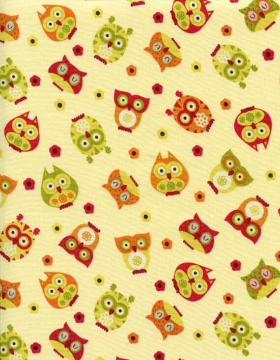 Cream Owls Fabric Timeless Treasure Apple - C 5707 Alice Kennedy 1/2 yard OOP