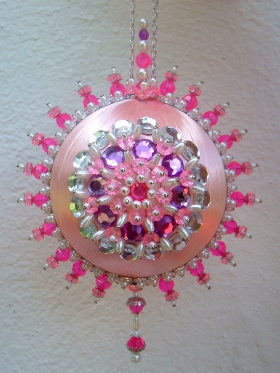Satin Beaded Christmas Ornament Kit Pink Explosion By Sarmona
