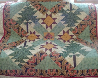 Stars & Bear Claw Quilt, paisley colors