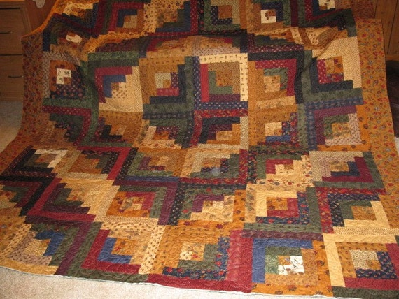 Log Cabin Quilt Pattern Free Queen Size : Log Cabin Queen Size Quilt