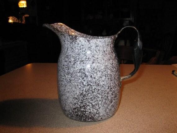 Antique Milk Pitcher enamel Ware