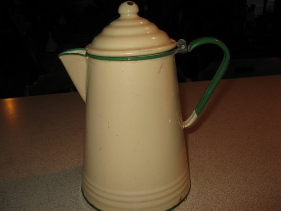 Antique Cream and with green trim Coffee Pot