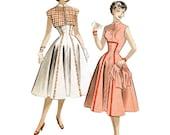 Vintage 1950s Full Dress Pattern - Butterick 6050 Bust 32 Empire Waist