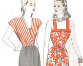 Hollywood 1570 Misses 1940s Sun Dress Pattern Surplice Jacket  Bias Trim Bust 34 Vintage Sewing Pattern UNCUT