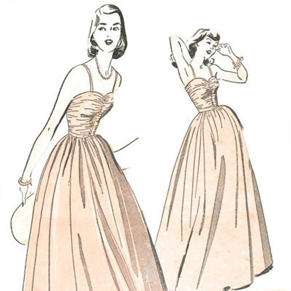 Advance 5028 Misses 1940s Dress Pattern Ruched Sweetheart Bodice Wedding Formal Full-Length Skirt Bust 31.5 Vintage Sewing Pattern
